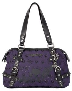 Harley-Davidson® Womens Purple Skull Jacquard Satchel Purple Cotton Blend Tote Bag
