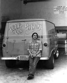 Vintage Ford Econoline Van and it's chick magnet owner. Customised Vans, Custom Vans, Station Wagon, Dodge Van, Chevy Van, Camper, Commercial Van, Old School Vans, Day Van