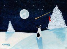 RAT Terrier Dog SNOW Folk Art PRINT Todd Young painting WINTER WISH