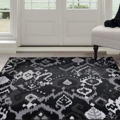 Lavish Home Ikat Area Rug Black & Gray 8 x 10 Foot Carpet Flooring