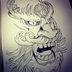 korean dragon mask tattoo design by teo