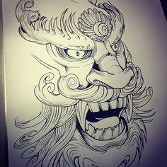 korean dragon mask tattoo design by teo
