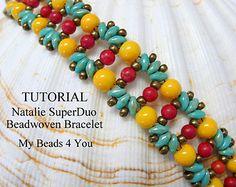 PDF Beading Pattern, Beadwork Bracelet Pattern, Beadweaving Tutorial,Pattern,Seed Bead Tutorial,PDF Superduo Schemi, Beading Instructions