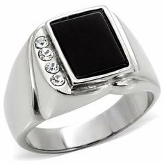 Stamped 316 Stainless Steel Genuine Semi-Precious Onyx Ring for Men CostumeFashionJewelry. $14.50