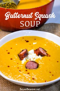 Roasted Butternut squash soup with smoked sausage is a savory, creamy roasted butternut squash soup with hints of chili, sage, onion and feta for a delish fall soup. #Squash #FallRecipe #Soup #ButternutSquash #SoupRecipe Fall Recipes, Soup Recipes, Keto Recipes, Healthy Recipes, Pumpkin Squash, Roasted Butternut Squash Soup, Fall Food, Quick Easy Meals, Feta
