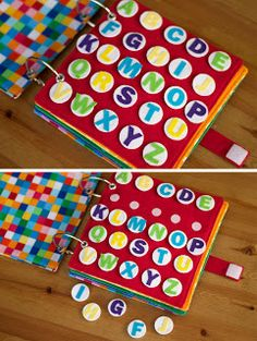 Alphabet sort 5 yo/ match yo Rainbow Quiet Book - Toddler Busy Book - Today I Felt Crafty Diy Quiet Books, Baby Quiet Book, Felt Quiet Books, Quiet Book Templates, Quiet Book Patterns, Felt Diy, Felt Crafts, Sensory Book, Book Activities