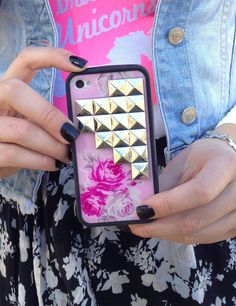 """Limited Edition Pink Floral Pyramid Wildflower case with Declared clothing """"I brake for unicorns"""" leotard <3"""
