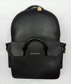 100% Authentic BUSCEMI PHD Large Leather Backpack With Padlocks Black NEW #Buscemi #Backpack