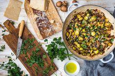 Receta fácil y de coles de Bruselas con setas Shitake y Parmesano