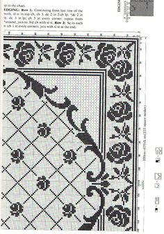 Filet Crochet Charts, Crochet Doily Patterns, Crochet Doilies, Embroidery Patterns, Counted Cross Stitch Patterns, Cross Stitch Embroidery, Cross Stitch Rose, Crochet Tablecloth, Double Knitting