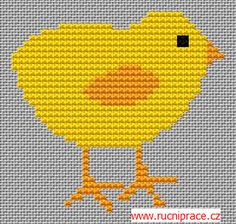 A chick, free cross stitch patterns and charts - www.free-cross-stitch.rucniprace.cz