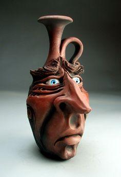 Blue Eyes Face Jug Pottery Raku Folk Art Sculpture by Grafton | eBay
