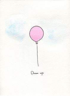 Pink Watercolor Balloon Painting. $10.00, via Etsy.