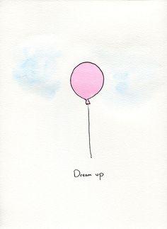 Pink Watercolor Balloon Painting. $10.00, via Etsy.