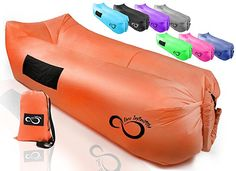 Live Infinitely Inflatable Air Lounger Chair Features Headrest, 2 Pockets, 700 Gauge Inner Liner, 420D Ripstop Exterior & Travel Bag Use On Beach Or In The Pool 9' Long & Holds 500 (Burnt Orange)