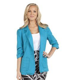 Karen Kane's Shirred Sleeve Blazer in tile-blue, yes please!