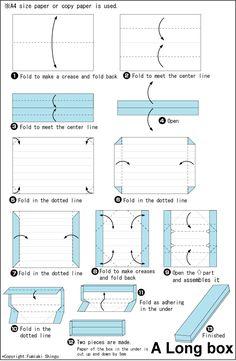 Origami Long Box A4 paper japanese - paperin taittelu rasiat masu