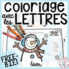 Here is a FREE set of three Winter-themed colour by letter worksheets. Each letter is assigned a colour, and students will look for the letters within the picture. They will colour the space with each letter the corresponding colour. If there is no letter French Language Lessons, French Language Learning, Learn A New Language, French Lessons, English Language, French Teaching Resources, Teaching French, Teaching Ideas, Winter Colors