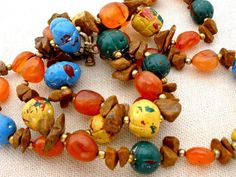 Vintage Hand Painted Bead Necklace Enamel by TheJewelryLadysStore,