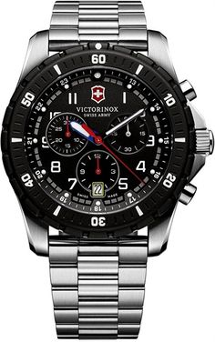 f6ed2215495 Victorinox Swiss Army Maverick Sport Steel Case Black Dial Steel Bracelet  Chronograph Quartz Watch 241679 for sale at OC Watch Company the authorized