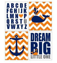 Teal Orange Grey Nautical Nursery Wall Art by PaperPlanePrints
