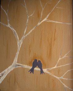 Original Bird Silhouette Acrylic Painting by MostArdentlyDesigns, $45.00