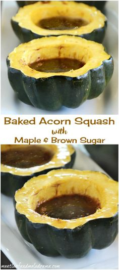 Easy Baked Acorn Squash with Maple and Brown Sugar -- A delicious fall side dish that's perfect for Thanksgiving!
