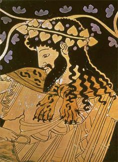 Dionysus from the Kleophrades Painter belly amphora. Dionysus is depicted with satyrs and maenads, he holding a kanthanos and is draped with a leopard (TIM RICE) skin. Ancient Greek Art, Ancient Greece, Classical Mythology, Greek Mythology, Greek Pantheon, Roman Gods, Greek Pottery, Pottery Painting, Painted Pottery