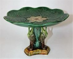 Majolica pond lily cake stand with storks on base