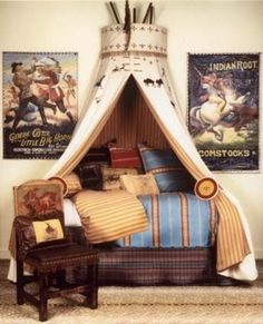 amazing tee-pee canopy for boys bed.