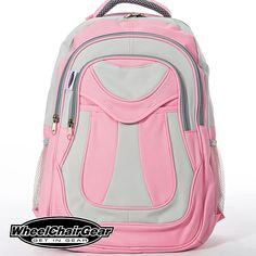 My Pink BFF Wheelchair Backpack. THE BEST SELLING WHEELCHAIR BAG FOR GIRLS.. Features three spacious storage compartments: Handy front pocket, and a larger zippered pocket behind it. And you have a large zippered main compartment which is wide open with a pocket sleeve on the inside-back. CLICK HERE http://www.wheelchairgear.com/product/my-pink-bff-wheelchair-backpack/