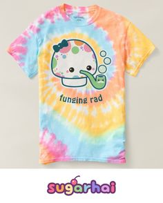 """Pastel rainbow tie-dye t-shirts with polka dotted mushroom. You can keep the text """"funging rad"""" or replace it with your own saying."""