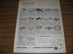 1951 Vintage Ad Pyrex Ware Dishes Corning Glass Works NY in Collectibles, Advertising, Merchandise & Memorabilia | eBay