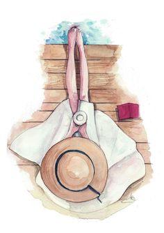 Fashion illustration print Seaside coffee by Pinodesk on Etsy