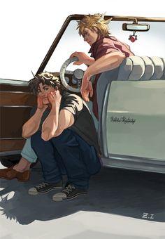 Caesar and Joseph--Jojo's Bizarre Adventure.