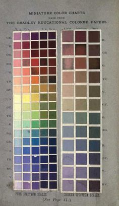 Miniature Color Charts Made From The Bradley Educational Colored Papers