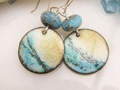 Blue Ocean Enamel Earrings Lampwork Bead Copper Jewelry