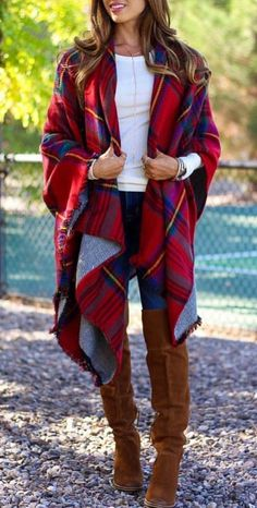 #winter #outfits women's red and blue plaid cardigan. Click To Shop This Look.