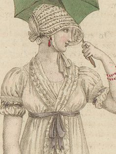 When thinking of the fashions between 1788 and the obvious characteristics seem to be a high waist-line, as slim skirt and puff-sleeves. Regency Dress, Regency Era, Jane Austen, Tailoring Techniques, Georgian Era, Visor Hats, Empire Style, Fashion Plates, Fashion History