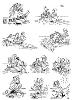 Herluf Bidstrup - A memorial site - Cartoons - The best collection of drawings on the net - Romantic - He lost a paddle, he got a love on the sunken boat. Social Themes, Mad Magazine, Fun Comics, Pulp Art, Just Smile, Comic Strips, Art Drawings, Romantic, Cartoon
