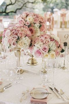 pink wedding centerpiece idea; featured photo: SMS Photography