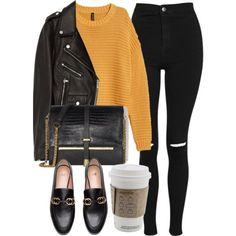 A fashion look from February 2018 featuring mustard top, real leather jackets and high waisted jeans. Browse and shop related looks. Winter Fashion Outfits, Fall Winter Outfits, Teen Fashion, Autumn Winter Fashion, Cute Casual Outfits, Stylish Outfits, Fashion Capsule, Mode Outfits, Everyday Outfits