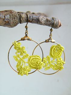 Lime Green-Black-Off White-Yellow-Classic Blue-Rose Lace Hoop Earrings-Dancing Leaf Design by dancingleafdesign on Etsy https://www.etsy.com/listing/84714414/lime-green-black-off-white-yellow