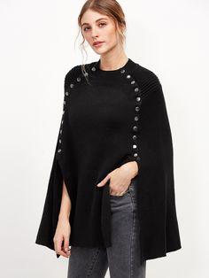 Shop Black Metal Button Embellished Poncho Sweater online. SheIn offers Black Metal Button Embellished Poncho Sweater & more to fit your fashionable needs.