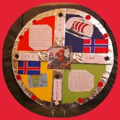 Viking Shield for my son's Primary 4 school topic of Vikings! Circle cut out of plywood. Then covered the board with different coloured card, kitchen foil, cut out shapes etc. Chosen Viking was Eric The Red. Amazing how much double-sided tape we used! Vikings For Kids, Projects For Kids, Art Projects, Sons Of Norway, Rainforest Project, Viking Camp, Viking Shield, Beowulf, Anglo Saxon