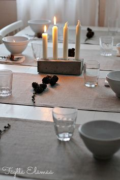 . Table Settings, Candles, Place Settings, Candy, Candle Sticks, Tablescapes, Candle
