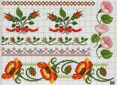 Ricami, lavori e schemi a puntocroce gratuiti: Cross stitch free patterns-Raccolta di cornici e bordi a punto croce