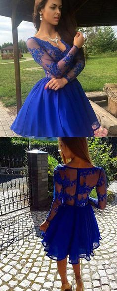 long sleeves lace prom dresses short,short royal blue homecoming dresses with sleeves,royal blue tulle prom dresses with lace,v neck homecoming dresses,fashion dresses for party