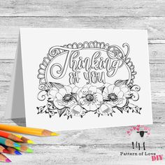 Thinking of You Coloring Printable Note Cards | Etsy Jw Gifts, To Color, Thank You Notes, Note Cards, Thinking Of You, Card Stock, Coloring, Printables, Lettering