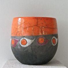 mug raku orange motifs gouttes horizon